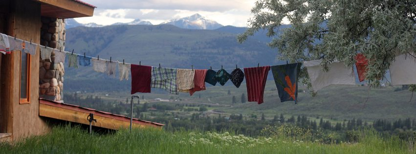 Clothes line and mountains